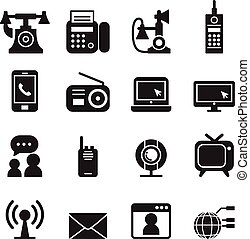 Communication Technology icons set Vector
