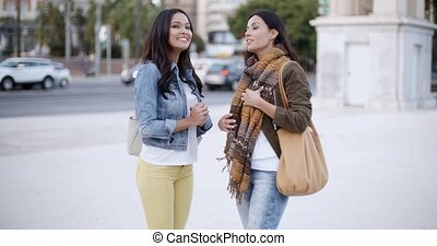 Two stylish women chatting outdoors in a town - Two stylish...