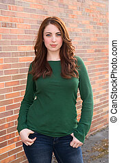 pretty young adult - half length portrait of an attractive...