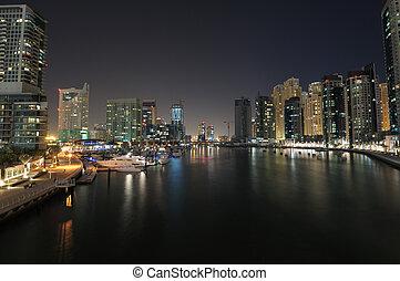 Dubai Marina at night. Dubai, United Arab Emirates