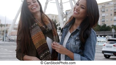 Fun happy young women in front of a ferris wheel