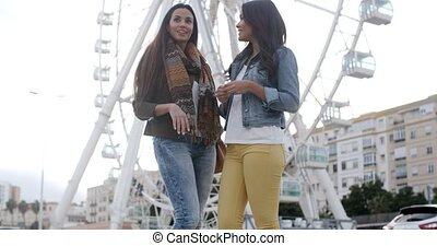Two young woman in front of a ferris wheel - Two attractive...