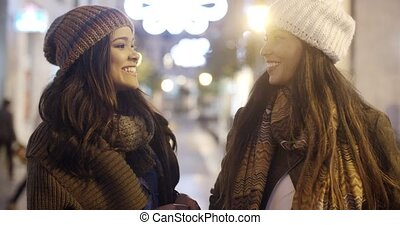 Two young woman chatting outdoors in winter - Two stylish...