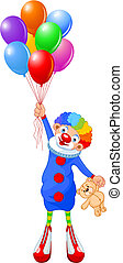Clown and Balloons - Funny clown flying with balloons Vector...