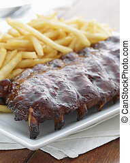 rib meal with french frie