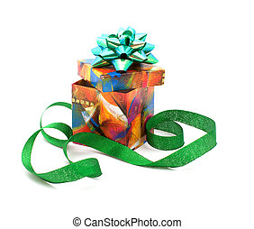 Fancy box and ribbon - Gift box with a bow and a green...