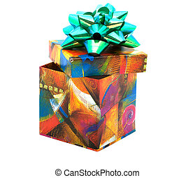 Fancy box - Gift box with green bow isolated on white...