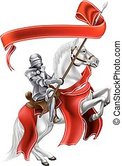 Medieval Banner Knight on Horse - A medieval knight on the...