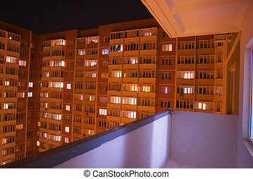 Ghetto balcony - A view to a Russian ghetto house in the...