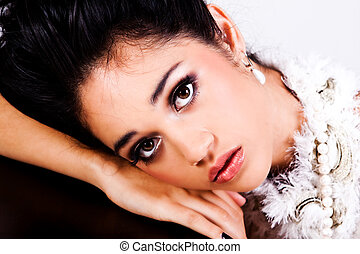 Glamorous Young Woman Resting Her Head - Attractive young...