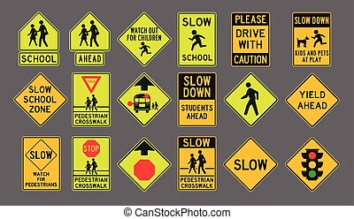 Pedestrians road signs - Vector illustration of differents...