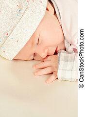 calmness - Sweet little newborn baby sleeping in her bed