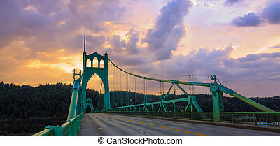 St Johns Bridge in Portland Oregon, USA - Beautiful Sunset...