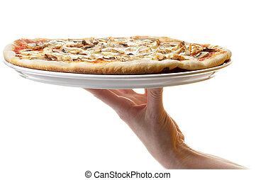 Whole pizza plate on the human hand support isolated over...