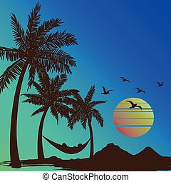 summer vacation on tropical beach Sunset with Palm trees...