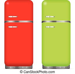 Classic fridge set on a white background Vector illustration...