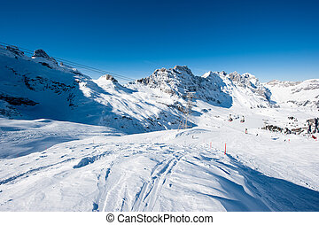 Titlis panorama above Truebsee in winter, Engelberg,...