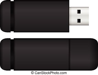 USB flash drive black - USB flash drive set on a white...