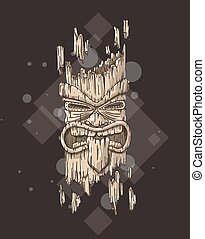 Scary tiki god - Hand drawn illustration of a tiki totem....