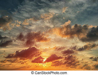Evening sunset with orange cloud scape. - Beautiful sunset...