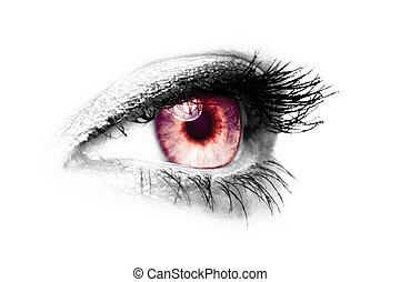 female eye - color key red - vampir - picture of a female...