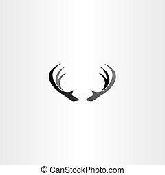 deer horns icon vector black logo symbol
