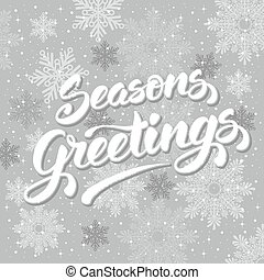 Seasons greetings Vintage card for winter holidays Hand...