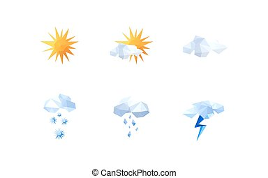 Collection of origami weather icons