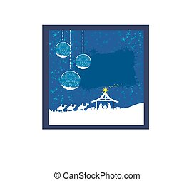 abstract Christmas card - birth of Jesus in Bethlehem