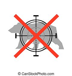 Sign of prohibited hunting bear with crosshair
