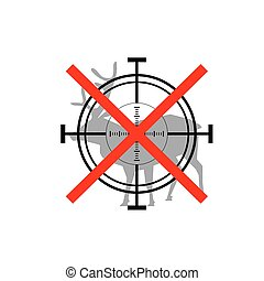 Sign of prohibited hunting deer with crosshair