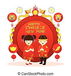 Chinese New Year Label, Boy and Girl - Traditional...