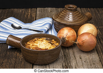 French Onion Soup - A bowl of hearty homemade french onion...