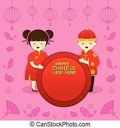 Chinese New Year, Boy and Girl - Traditional Celebration,...