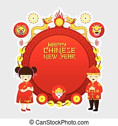 Chinese New Year Frame, Boy and Girl - Traditional...