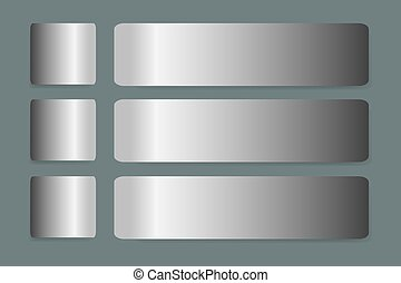 Six stainless steel horizontal labels vector with shadows on...
