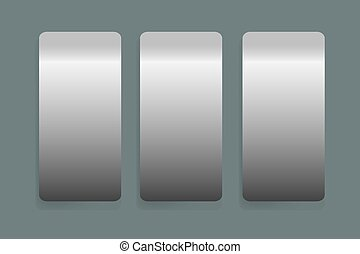 Three stainless steel vertical labels vector with shadows on...