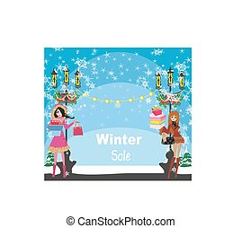 beautiful girls on winter shopping - card
