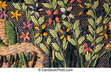 Closeup of hand woven floral tapestry - Close up of hand...