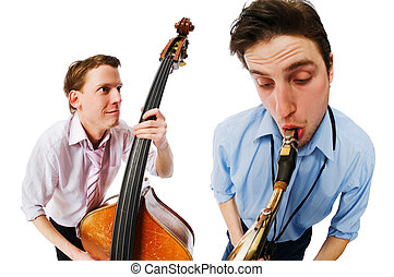 Two musicians performing