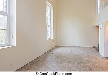 Interior of unfinished living room