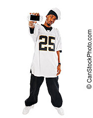 Handsome hip-hop young man with video game on white -...