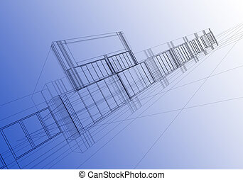 wireframe abstract - architectural abstraction - 3D...