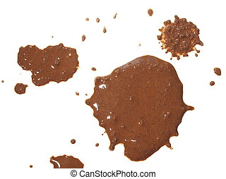 drops of mud sprayed isolated on white background, with...