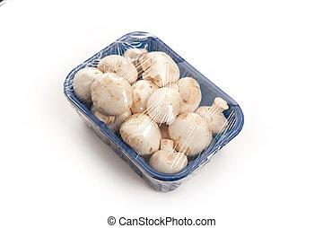 Mushrooms in blue plastic box