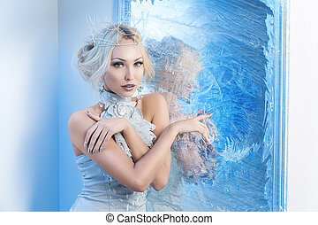neve, rainha, perto, congelado, espelho,