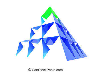 Abstract blue pyramid with green top - Abstract blue glass...