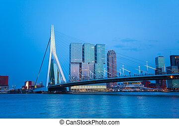 Erasmusbrug bridge view at evening in Rotterdam -...