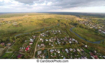 Village - Aerial view of typical russian settlement near...