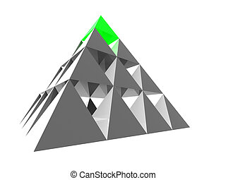 abstract pyramid with green top - Abstract steel pyramid...